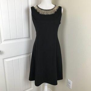 Alfani Black silver Beaded Dress Sleeveless Sz 8